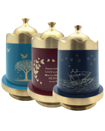 hand-painted and engraved brass funeral urns with special themes