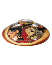 Apple Wood Metallic & Gold Wooden Cremation Urn