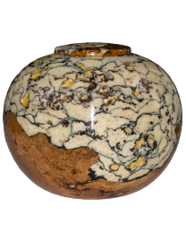 Cherry Burl with Pearl Ivory and Bronze Wooden Cremation Urn