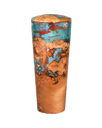 Black Cherry Burl Flute with Coral Resins Cremation Urn