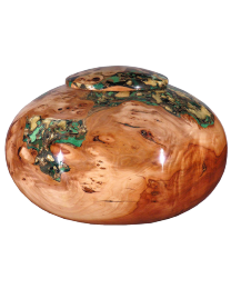 Apple Wood with Pearl Green and Gold Wooden Urn