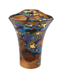 Black Cherry Burl with Turquoise Wooden Urn Cremation Keepsake