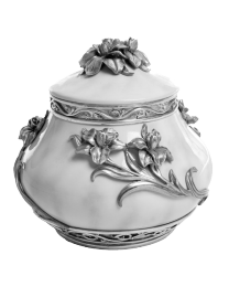Perennial Flowers Pewter Cremation Urn