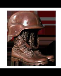 Stalwart Bronze Sculpture Urn- Helmet & Combat Boots