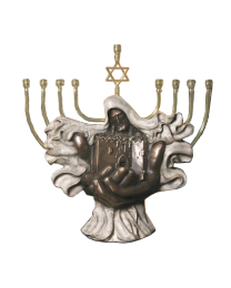 Jerusalem Menorah Bronze Sculpture Urn