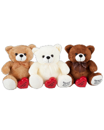 teddy bears in three colors: brown, white, tan