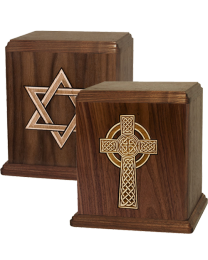 Wood Urn -  Inlaid Religious Theme