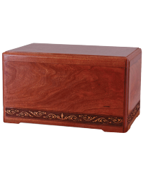 wood cremation urn in rosewood