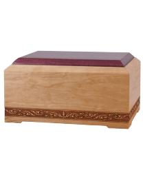 simple wood urn with decorative band
