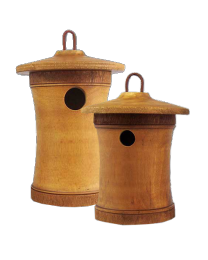 Turned Wood Birdhouse Urn