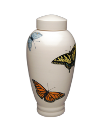 Butterflies Hand-Painted Porcelain Urn