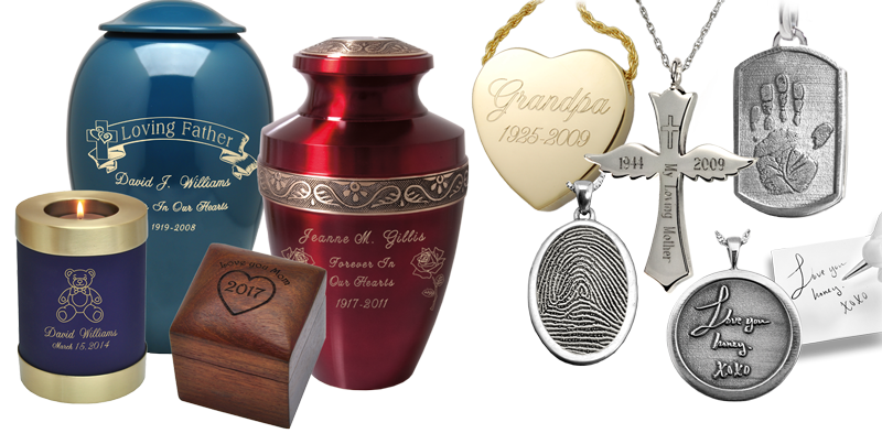 Engraved cremation jewelry and urn samples