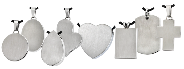 stainless steel memorial jewelry shapes