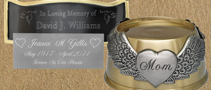 engraved plaque and display base urn accessories