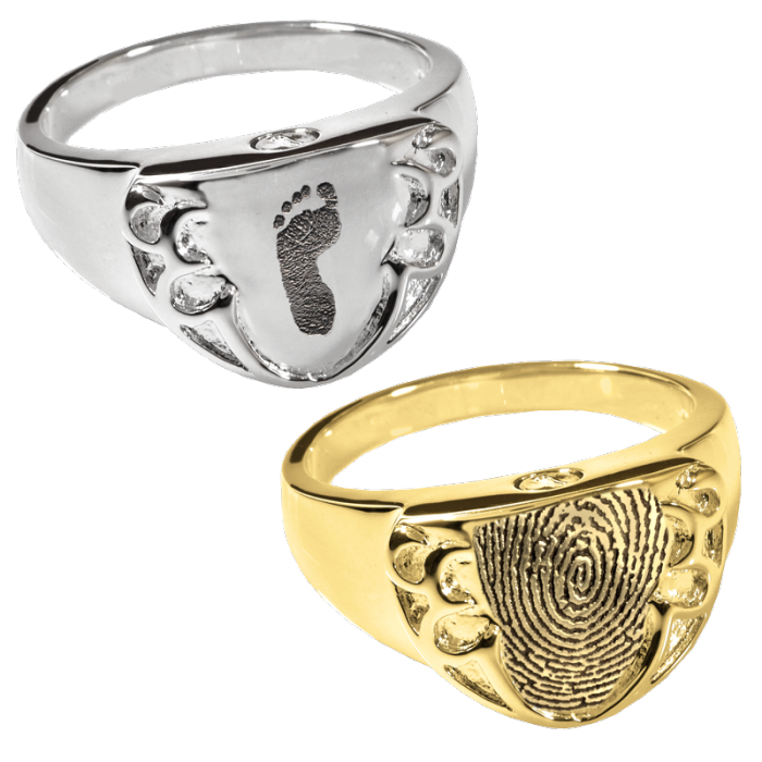 customized fingerprint ring engravable cremation jewelry