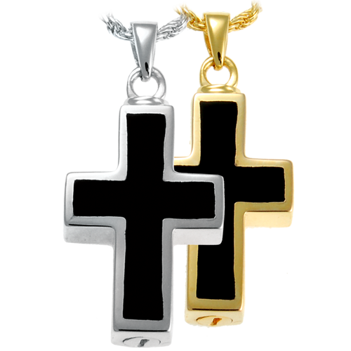 Religious cross jewelry solid gold cremated remains memorial black inlay cross for ashes aloadofball Images