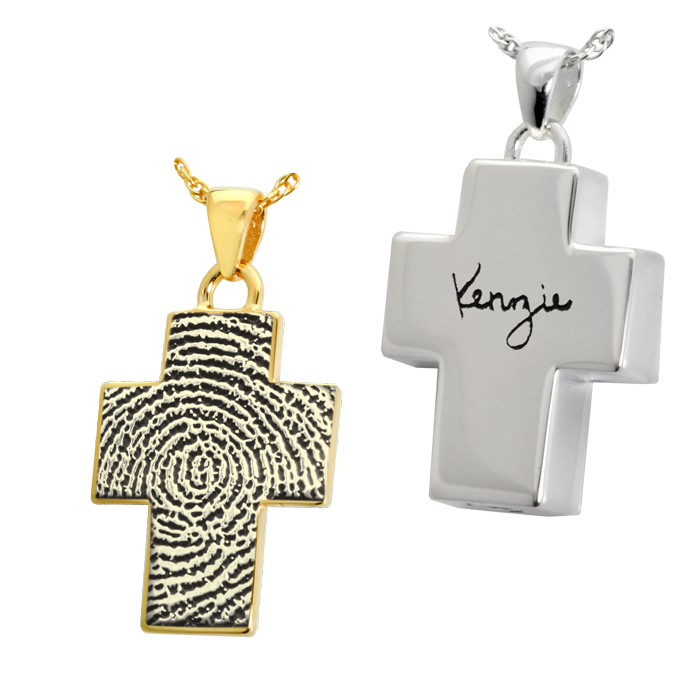 Religious cremation jewelry fingerprint engraved pendant personalized cross pendant aloadofball Images