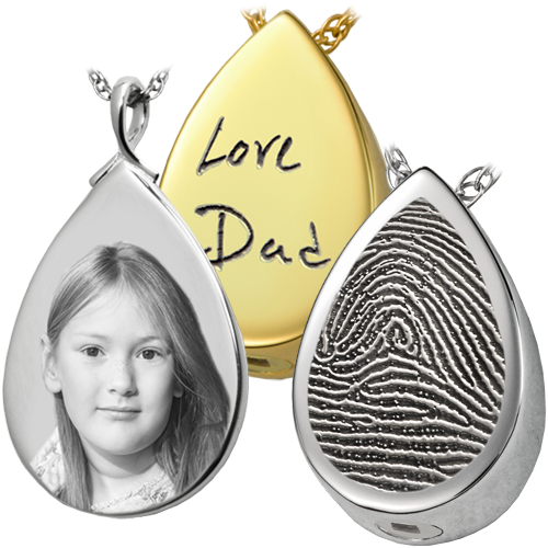Teardrop pendant for ashes photo and thumbprint memorial gallery teardrop personalized pendant with different options shown aloadofball Images
