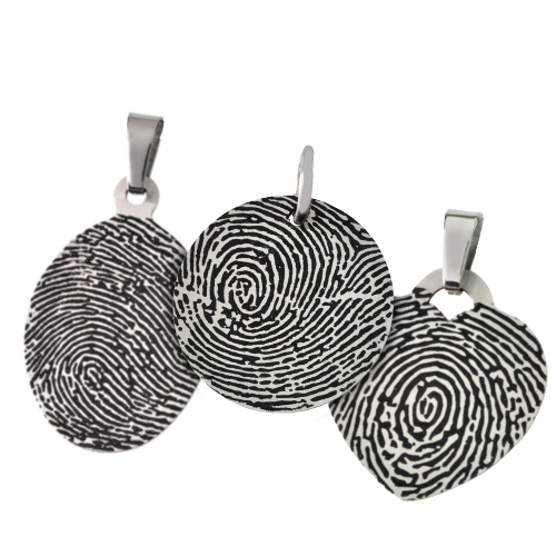 Actual fingerprint stainless steel necklace memorial gallery thin stainless steel fingerprint pendant mozeypictures Image collections