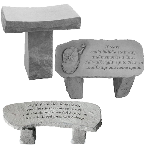 3 Varieties Of Stone Garden Benches; Saddle, Large Straight Angel Bench,  And Engraved