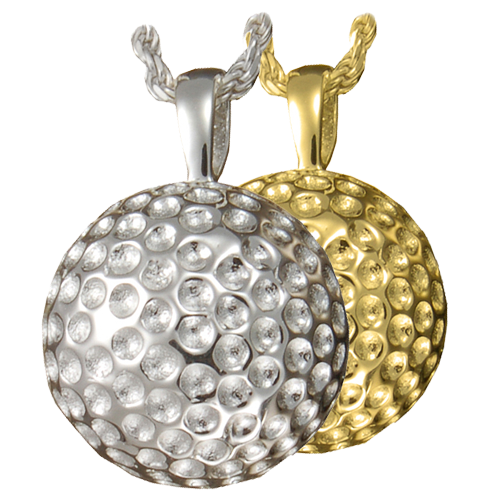 Golf ball pendant ashes in jewelry memorial gallery gold ball cremation pendant aloadofball Image collections