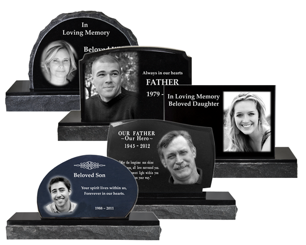 Custom memorial garden stone photo engraved in granite memorial memorial garden stones in a variety of shapes and designs workwithnaturefo