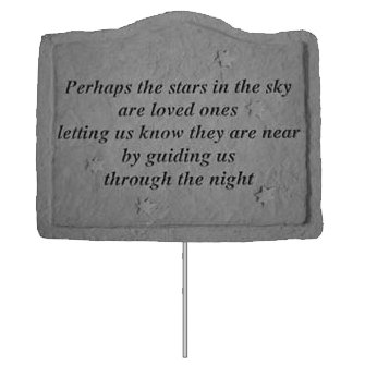 Small Stone Garden Stake With Engraved Phrase And Stars