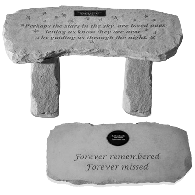 personalized stone garden bench with poem memorial gallery