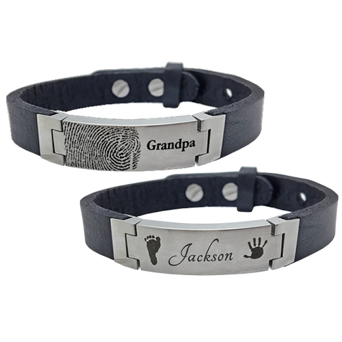 Personalized Leather Bracelet Designs With Actual Fingerprint Footprint And Handprints