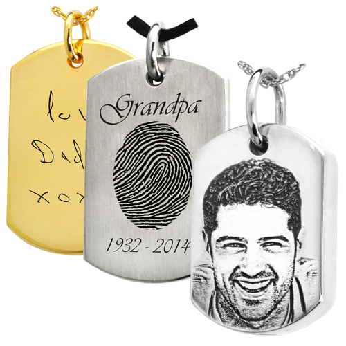 8441d292f030 dog tag necklace pendant personalized with handwriting, fingerprint or photo