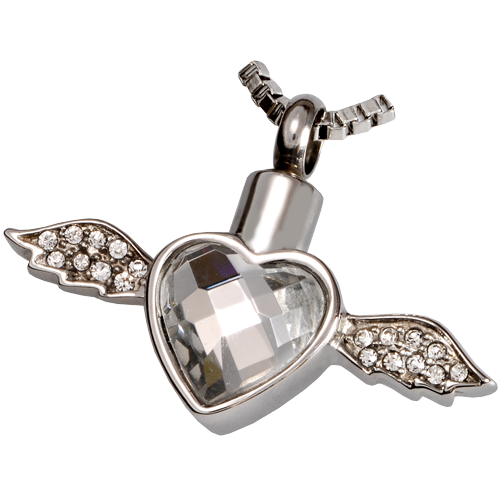 Heart and angel wings cremation jewelry pedant for ashes winged heart cremation pendant aloadofball Gallery