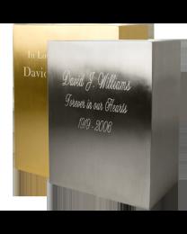 Rectangular Brushed Metal Cremation Urn