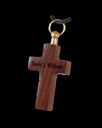 Dark Wood Cross Cremation Pendant