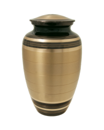 Black and Brass Stripe Brass Cremation Urn