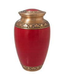 Cherry Red Brass Cremation Urn