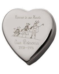 Heart Cremation Box with FREE text Engraving
