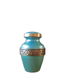 Seafoam Green Brass Mini Urn