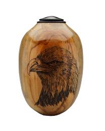 Eagle and Flag Pecan Wood Urn