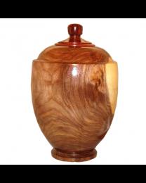Black Walnut Wooden Urn With Finial