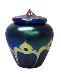 Peacock Urn Glass Urn