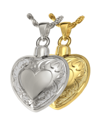 Double Etched Heart Pendant