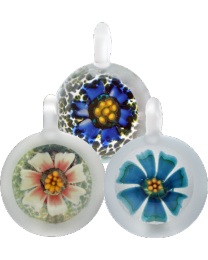 Frosted Floral Glass Cremation Pendant