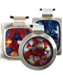 Dichroic Glass in Sterling Silver Bezel