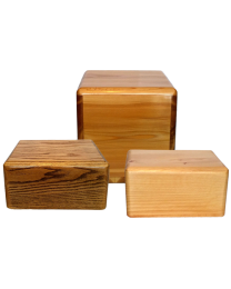 handmade pine wood cremation urns in two sizes