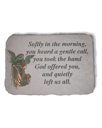 """Softly In The Morning..."" Metal Angel Garden Memorial Stone"
