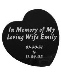 Large Etched Black Marble Heart