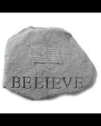 Believe With Flag Garden Memorial Stone