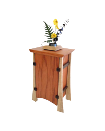 Bubinga, Curly Maple & Wenge Vertical Wood Urn with Pin Cup