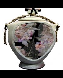 Sage Floral Niche Pottery Urn