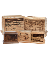 Solid Wood Horizontal Cremation Urn